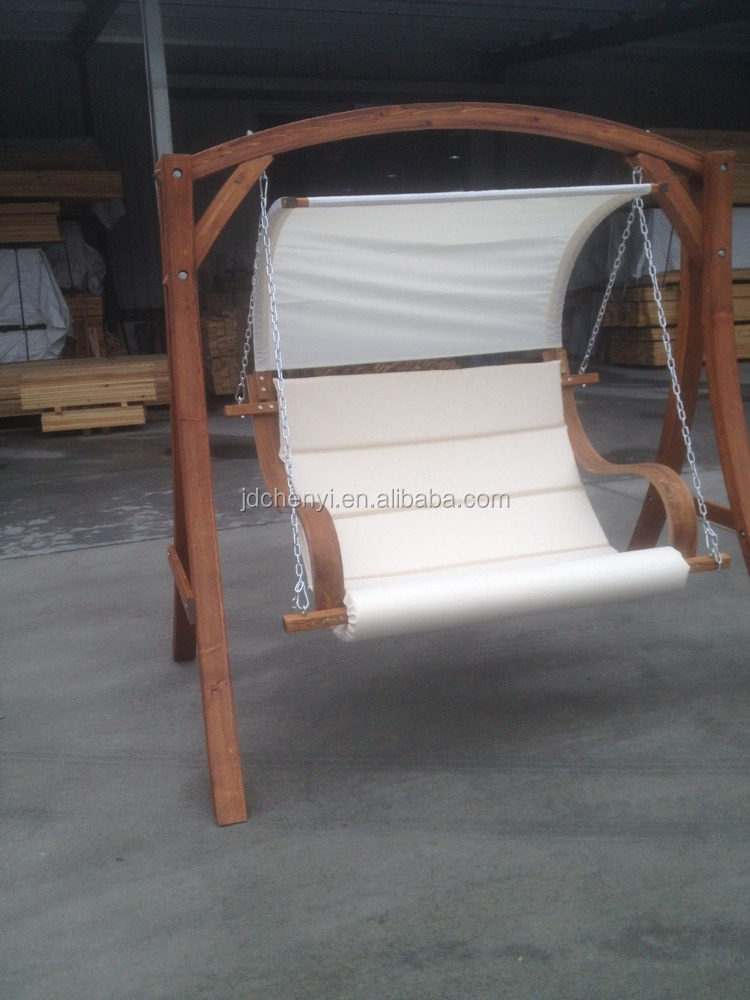 2 Seater Wooden Outdoor Swing Chair With Canopy Hammock Bench Furniture Lounger Bed Wood Cream Odf101