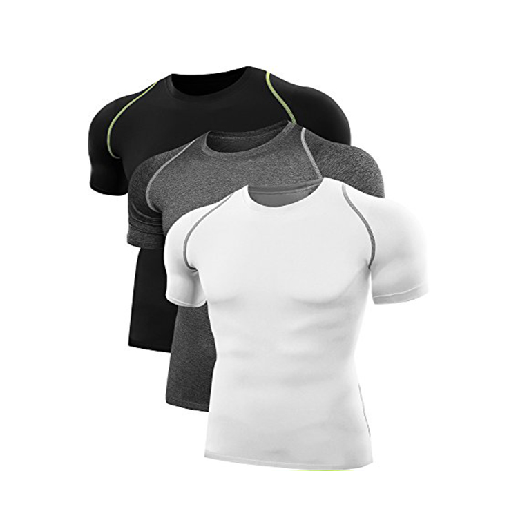 Mannen Droge Fit blanco Compressie gym dragen T Shirt 3 pcs Pack