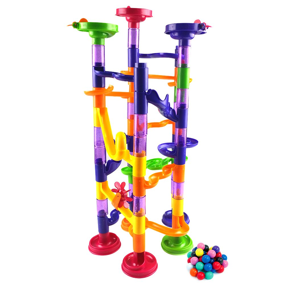 Fun Marble Pipe | Cute Colorful 74pcs Translucent Marble Run Toy Set with 44 Pipe Piece and 30 Marble | Safe Durable ABS Plastic and Manual Instruction for Children Game Education Creativity | 870