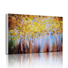 Handmade Natural Tree Scenery Oil Painting on Art Canvas