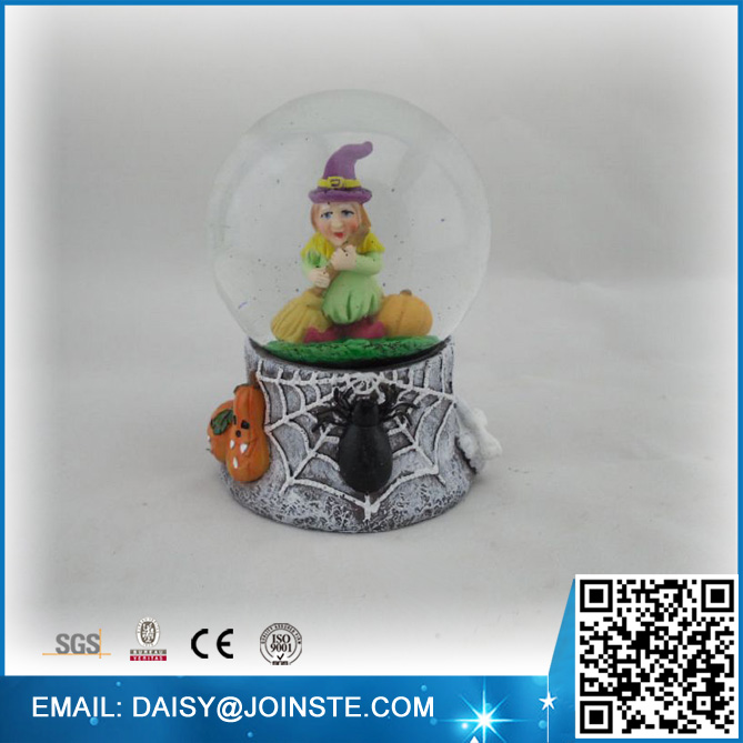 With Broom Witch Resin Halloween Snow Globe Craft