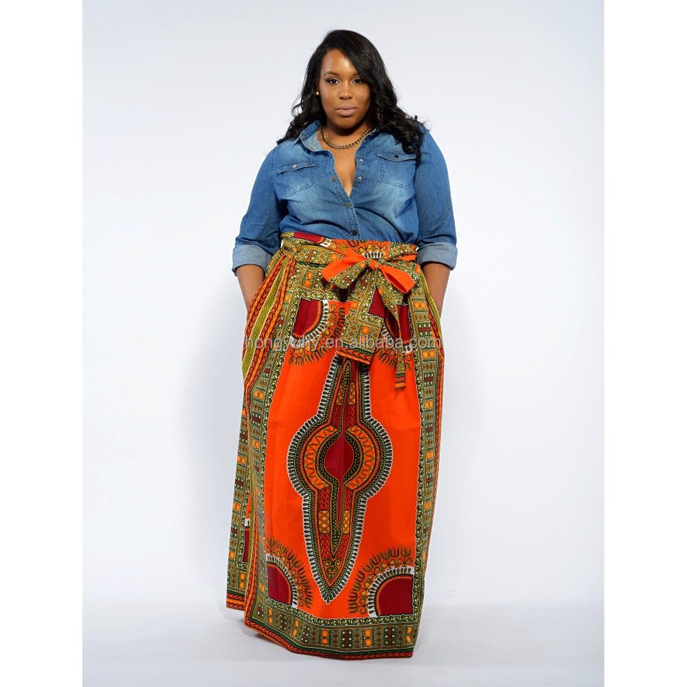 Factory Price Plus Size Female African Dashiki Maxi Skirt With Pockets And  Waist Bow Sash - Buy African Dashiki Dress Designs,Maxi Skirt,Plus Size ...