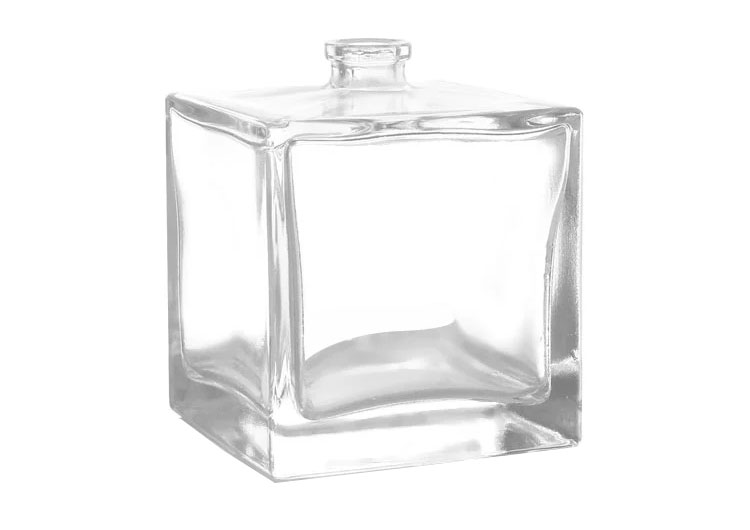 Rectangle 100ml glass perfume bottle with aluminum cap provide free sample