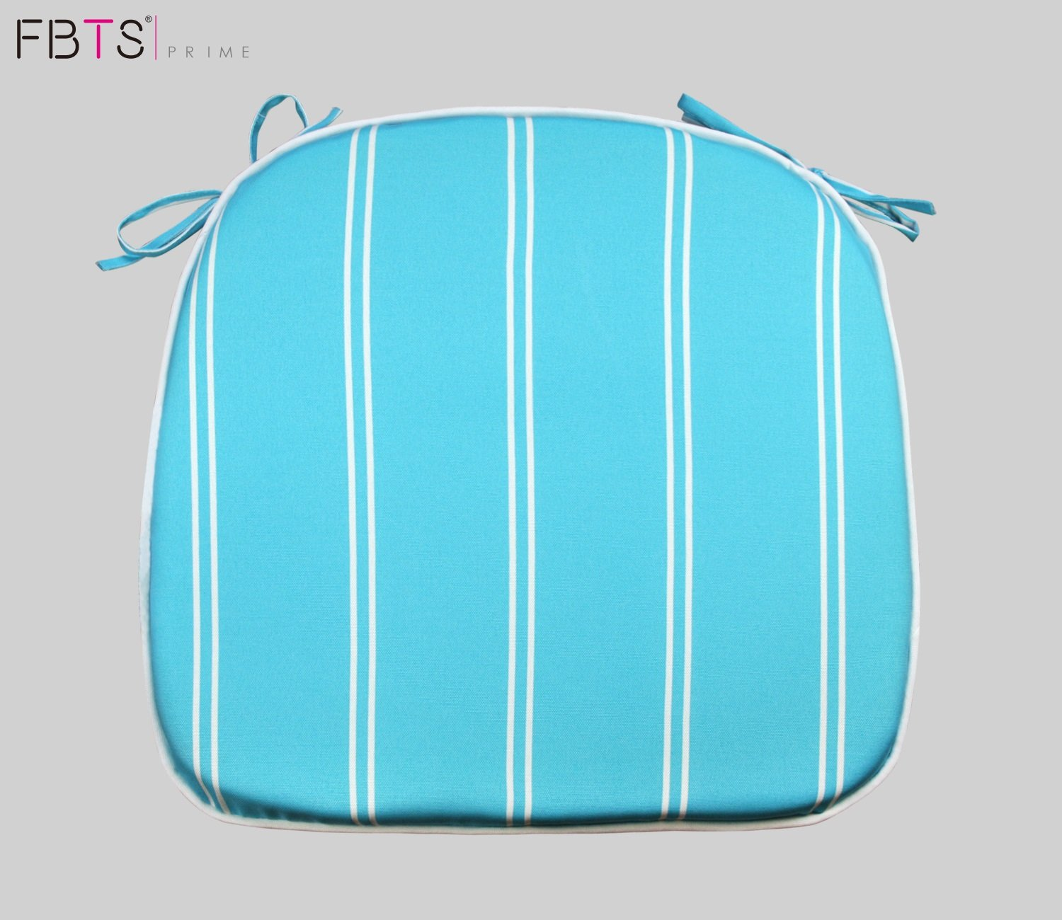 FBTS Prime Outdoor Chair Cushions (Set of 2) 16x17 Inches Patio Seat Cushions Blue and White Stripe Square Chair Pads for Outdoor Patio Furniture Garden Home Office