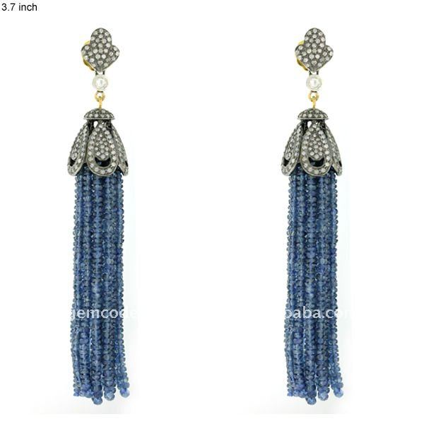 Blue Sapphire Gemstone 18kt Gold Pave Diamond Designer Handmade Wholesale Tassel Earrings Women's Jewellery