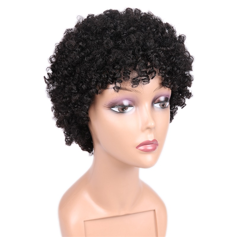 New Design Afro Kinky Curly Wig Short Afro Wigs Brazilian 100% Virgin Human Hair Spirc for Black Women Natural afro curl wig