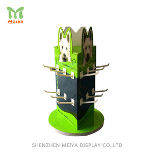 Full Color Printing Beautiful Table Top Rotating 3 Sided Cardboard Display With Peg Hooks For Accessory