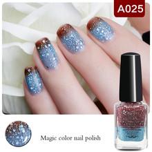 1 Bottle 6ml Peel Off Shimmer Blue Brown Color Changing Thermal Nail Polish Nail Varnish HOT