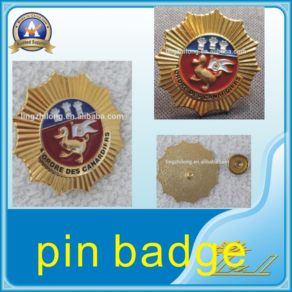 Gold metal screw cap custom metal lapel pins pin badge in souvenir