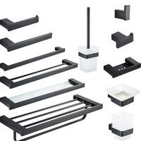 Matte Black Bathroom Hardware Sets Toilet Paper Holder Towel Bar Shelf Brush Holders Hooks Soap Dispenser Bath Hardware Sets