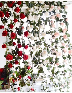 garland hanging plastic ivy real touch blossom wedding decoration vines rose artificial flower wisteria