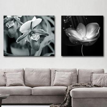 Abstracto Moderno Barato Blanco Y Negro Flor Pintura Cuadros Para