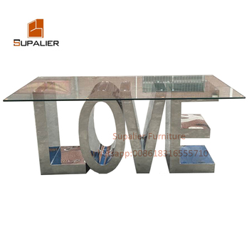 Base Per Tavolo In Vetro.Love Letter Table With Stainless Steel Base For Wedding Event