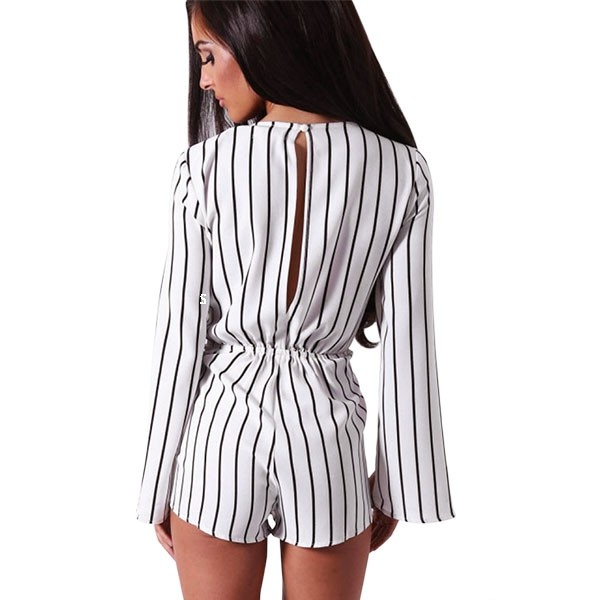 d9415af03455 2019 Wholesale Fashion 2016 Casual Black White Stripe Rompers Womens ...