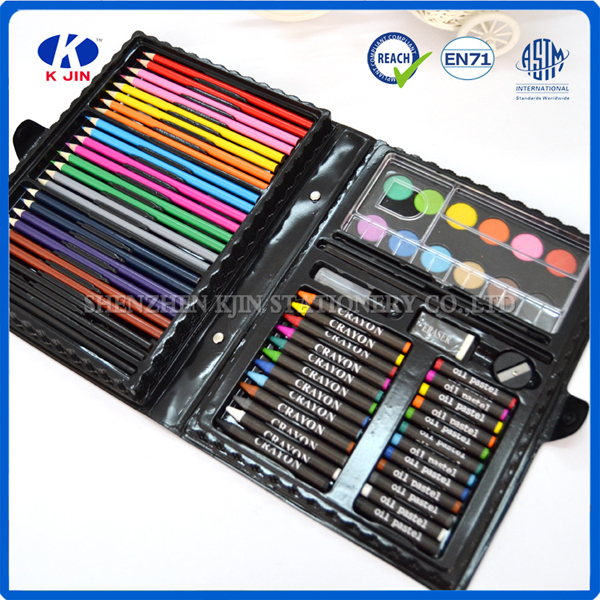 Wholesale china school Kids drawing art stationery set ( pencil,eraser,sharpener,water color pen,crayon,clip,glue,oil pastel)
