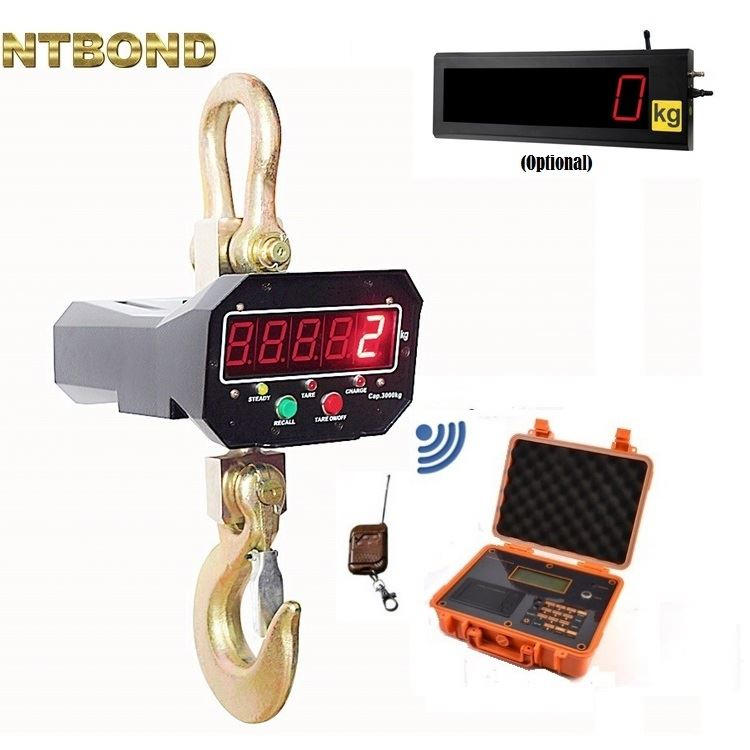 Digital Electronic Hanging Crane Scale with Wireless Handheld Meter 30T