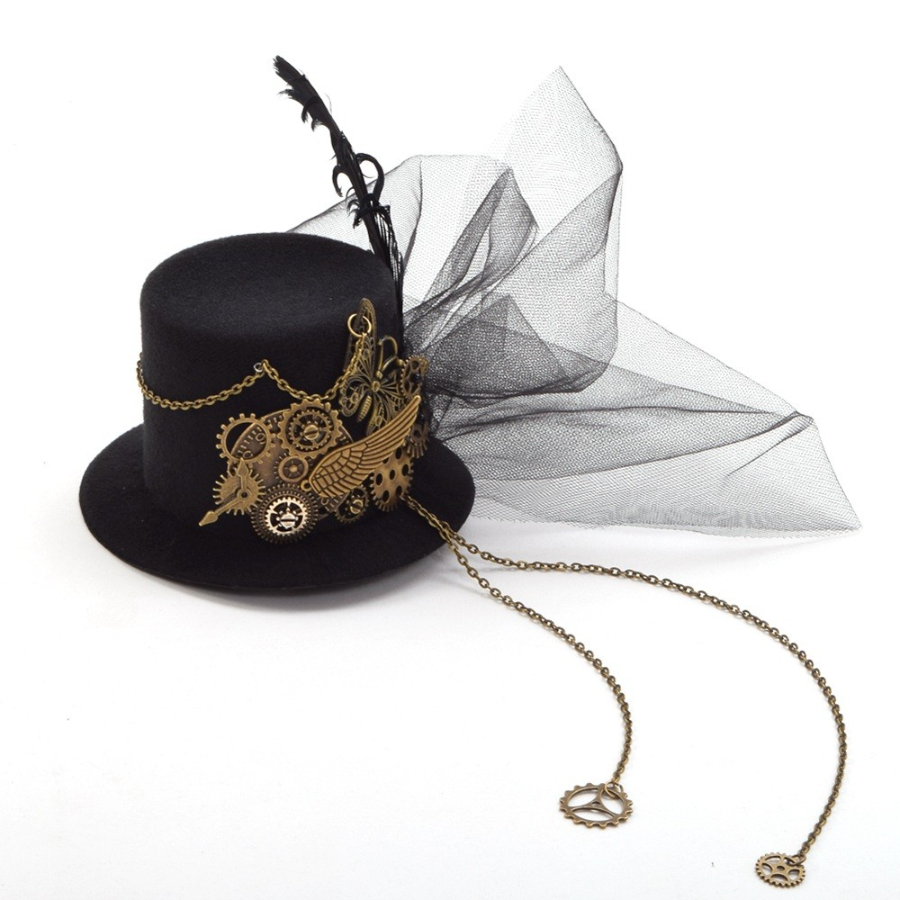 575930c35c146 clip Women Steampunk Fascinator Mini Top Hat Clip Punk Gothic Gear Wings  Clock Butterfly Decoration Headwear Hair Accessories