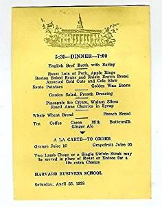 Harvard Business School Dinner Menu 1938 Mellon Hall Cambridge Massachusetts