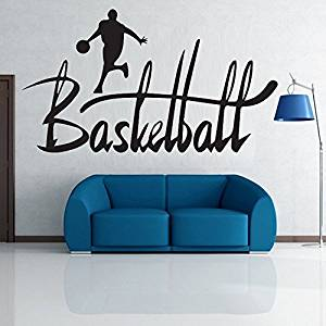 """Amaonm® Removable Black Vinyl DIY Basketball Players Dribble With Word Lettering Creative Arts """"Basketball"""" Sports Wall Decals Decor Wall Stickers for Kids/Baby/Boys/Men Room Bedroom Livingroom Classroom Wall Decorations"""