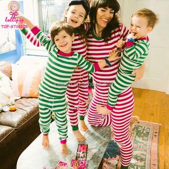 2017 xmas striped 100 cotton family christmas pyjamas sets kids