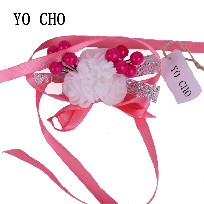 YO CHO Wedding Wrist Flowers Bridesmaid berries ribbon Silk Rose corsages Hand Flower Artificial Flowers For Wedding Decoration