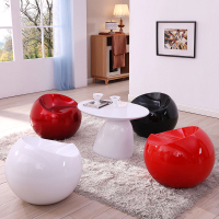 Mid Century Modern Round Parabel Side, Coffee Table, White, Accent Tables, by Furniture Source Worldwide