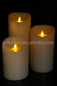 D75*H100 130 150mm 3 swinging real wax Christmas gift led candles set