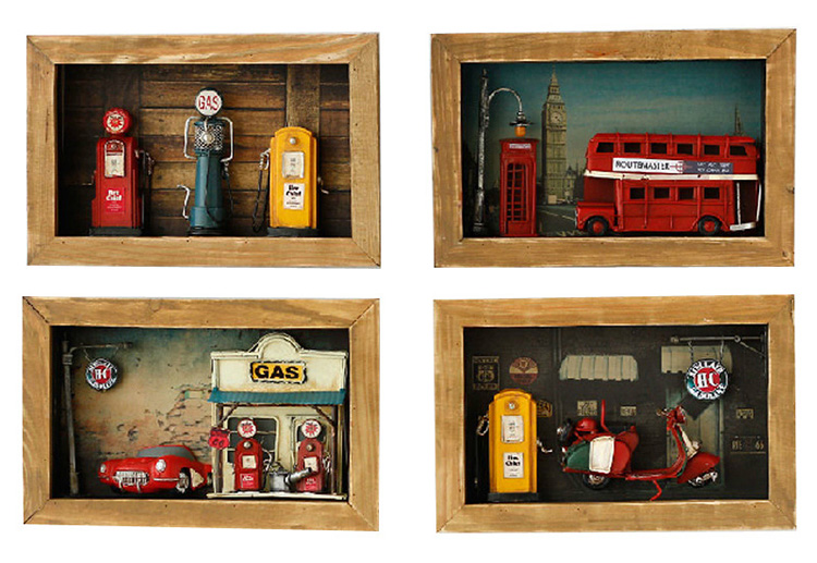 Creative Crafts Wooden Shadow Box Metal Wall Decor Vintage European Style Gas Pump Figurines Desktop Home Decor Accessories
