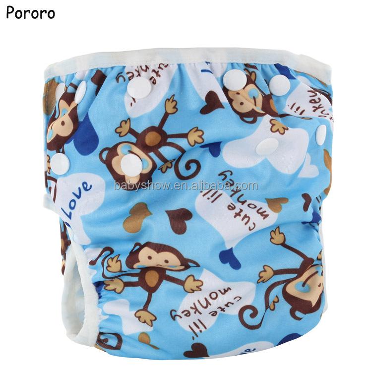 PUL waterproof baby swimwear swim diaper  3-15kg unisex baby cloth diaper baby nappies pool pant wholesale in China, Print/solid