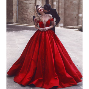 Red Wedding Dresses.Sexy Deep V Neck Red Wedding Dress Off Shoulder Customized Color Ball Gown Evening Dresses