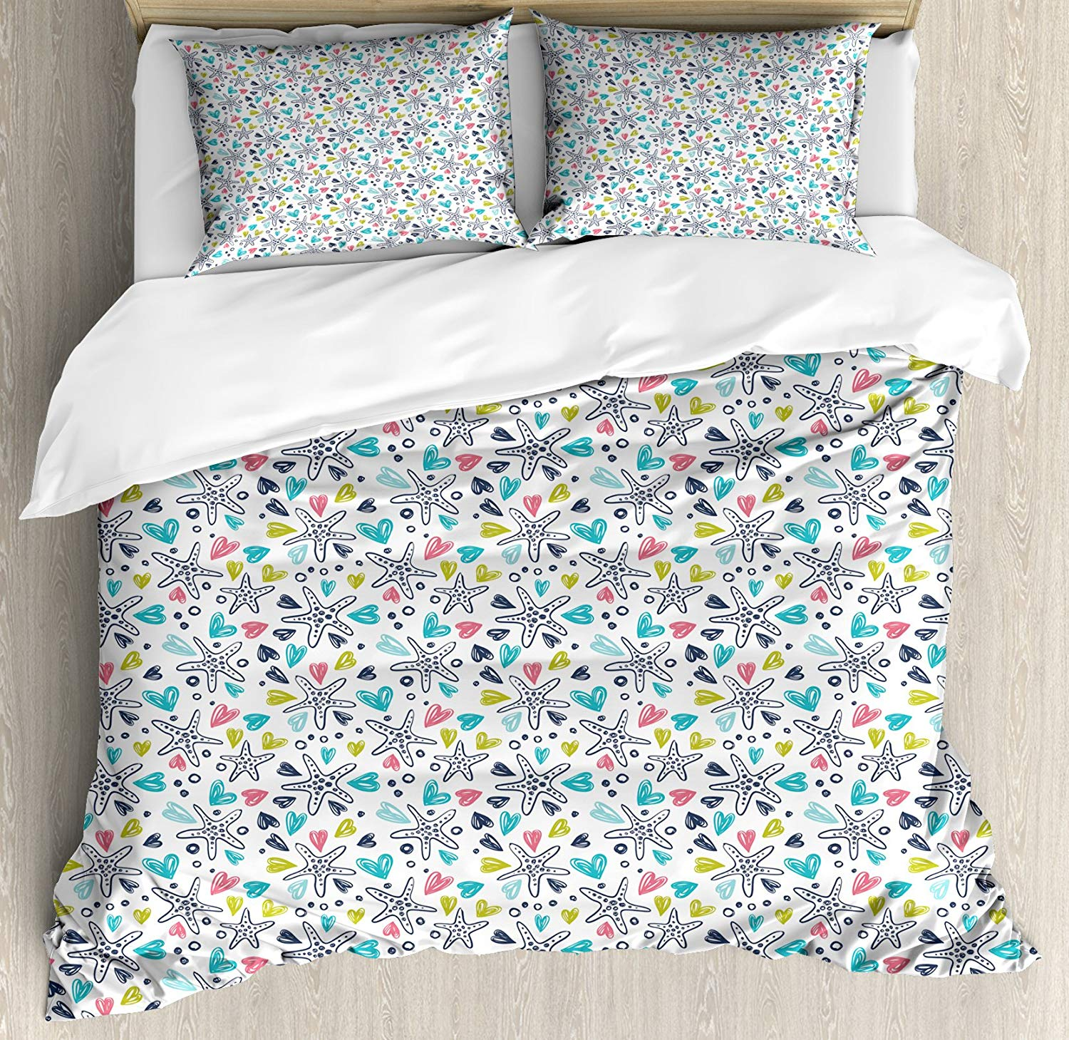 Ambesonne Starfish King Size Duvet Cover Set, Hand Drawn Colorful Love of Sea Life Themed Subaquatic Animal Doodles Illustration, Decorative 3 Piece Bedding Set with 2 Pillow Shams, Multicolor