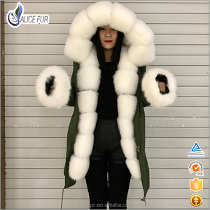 2017 Fashion parka jacket women winter luxury fox fur parka with big fur hood for women fox fur parka