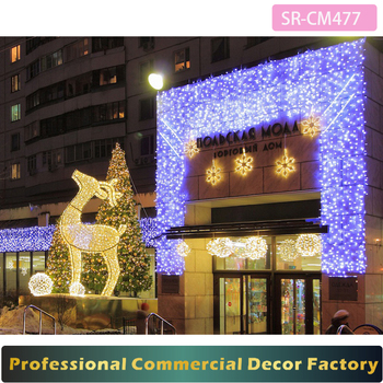customize commercial shopping mall front outdoor led standing reindeer christmas decoration