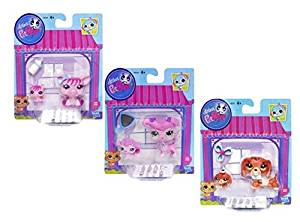 Littlest Pet Shop Figures Baby and Mommy Pig and Baby Pig #3595 & #3596, Poodle & Baby Poodle #3599 & #3600, Dachshund and Baby Dachshund #3601 & #3602 - Bundle