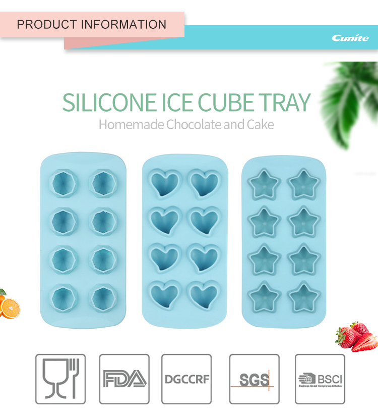 Food Grade Custom Silikon Ice Cube Tray mit Deckel 8 Hohlräume Ice Cube Tray