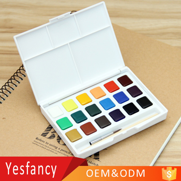 hot sale 12 colors students watercolor paint cake 18 colors water color paint