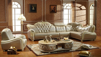 European Style Leisure Leather Sofa Set Luxury And Clic Living Room Corner Bf01