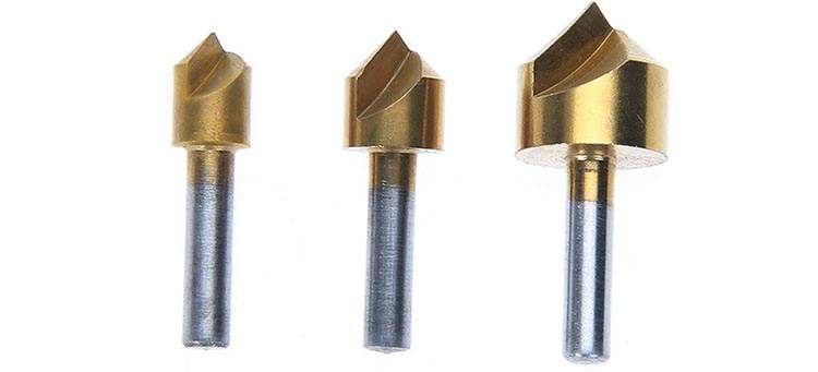 3Pcs Cylindrical Shank 90 Degree Single  Flute HSS Countersink Deburring  Bit Set  for Metal Drilling