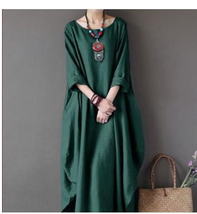 Plus Size Three Quarter Sleeve Women Dress Baggy Long Maxi Shirt Dress Casual Women Dress With Pocket фото