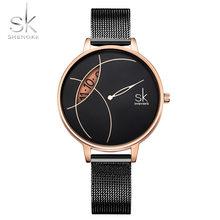 Shengke женские модные часы креативные Женские повседневные часы из нержавеющей стали с сетчатым ремешком стильные дизайнерские серебряные к...(China)