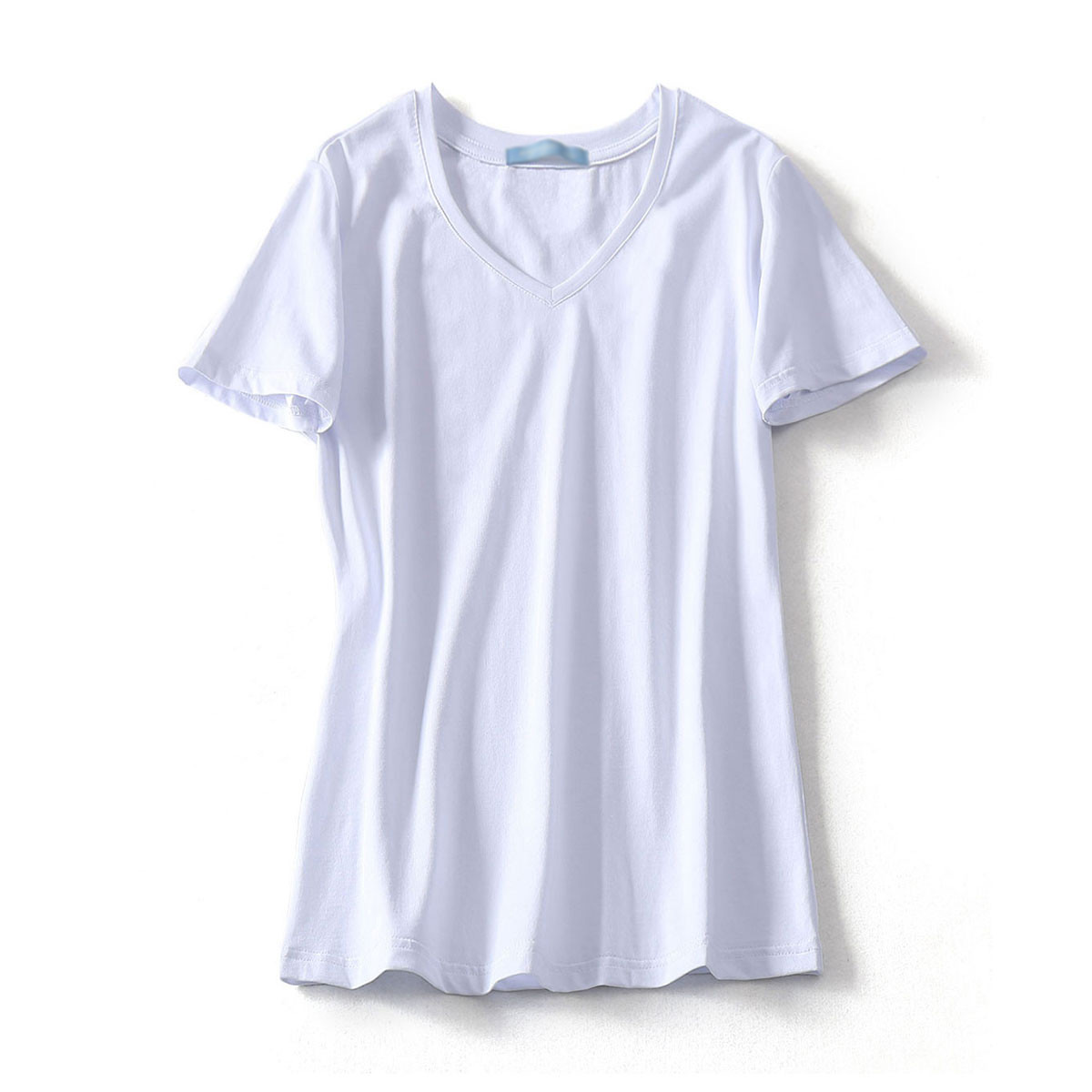 Summer New women's Pure Color V Collar Casual Cotton T-Shirt