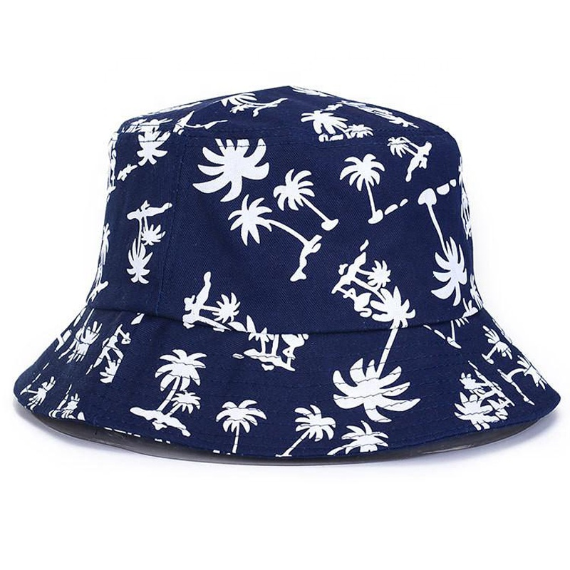 Fashion custom black and white 100% cotton printed embroidered bucket hat for men and women