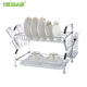 Dish Drainer Tray Rack Kitchen Drying Holder Organizer Stainless Steel Cutlery