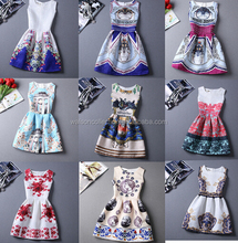 Hot sale 2016 Summer dress Fashion A-Line women vintage party dresses printing sleeveless Vestidos casual dress