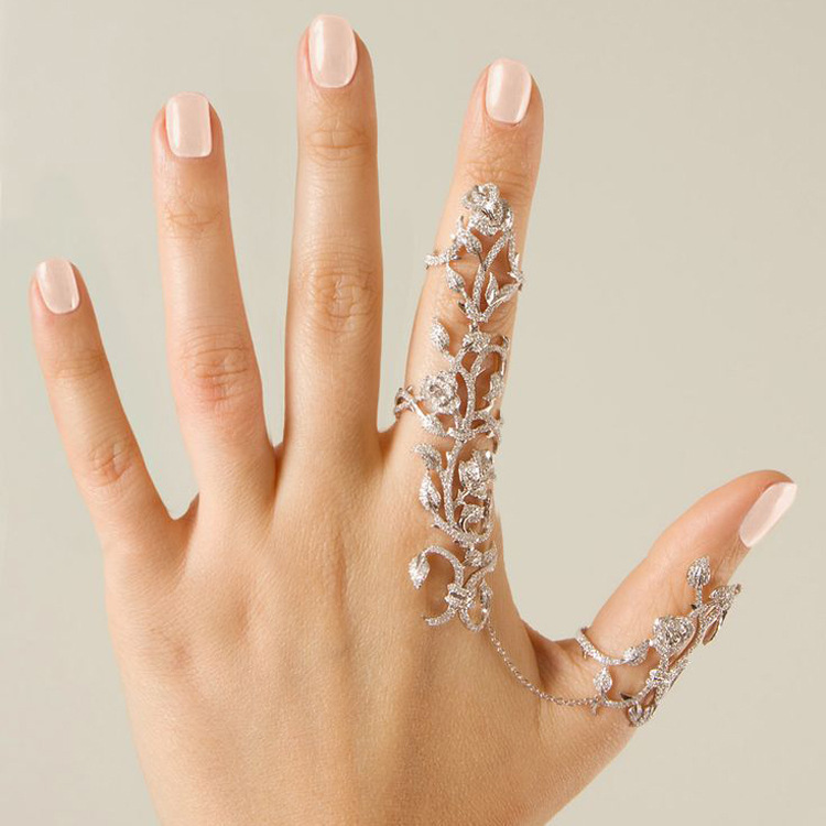 Fashion Punk Rock Gothic Gold Silver Hollow Carved Flowers Crystal Double Full Finger Knuckle Armor Ring