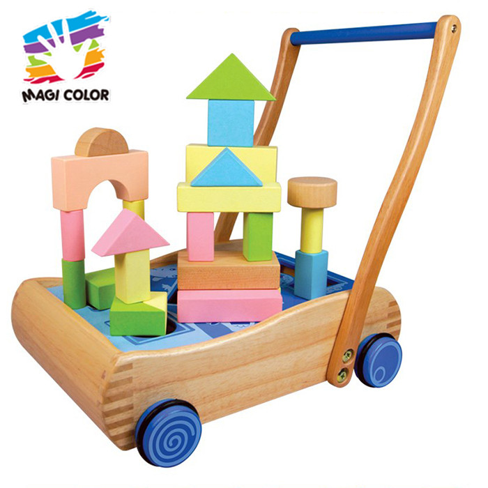 wholesale baby wooden pull along wagon toy with building blocks W13C036