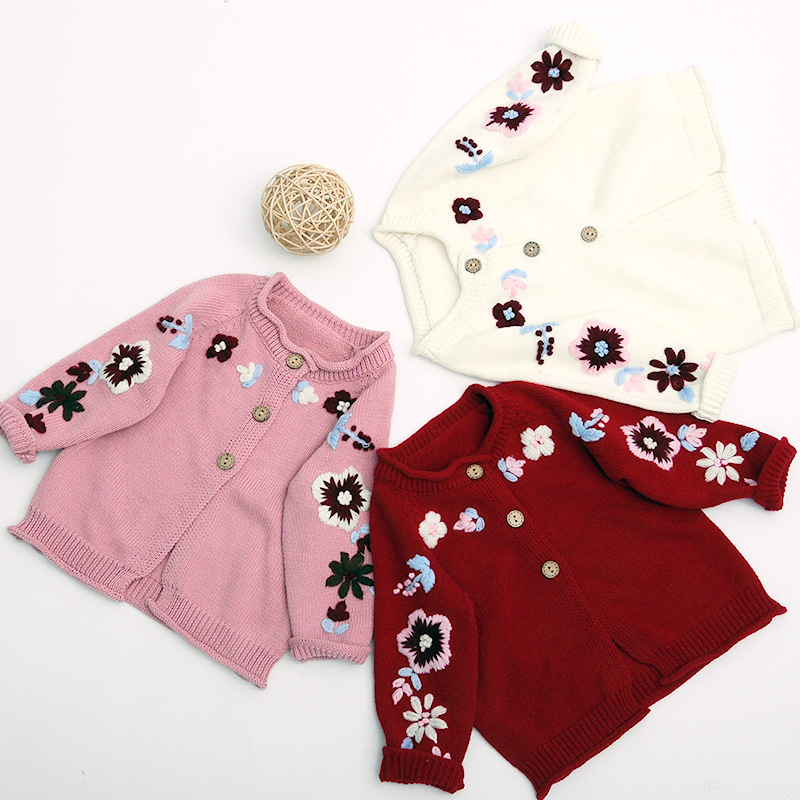 4d444fed Korean Style Winter Baby Girls Fashion Floral Embroidery Sweater Cardigan  Infant Kids All Match Hook Flower Sweaters Coats Boys Sweater Knitting ...