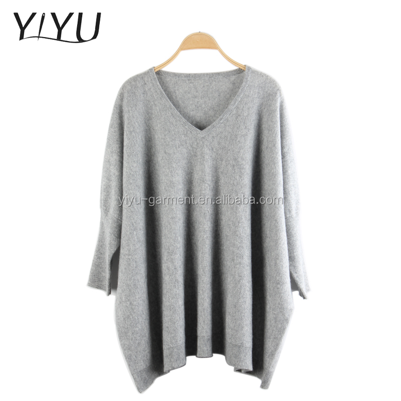wholesale custom winter women comfortable solid color v neck Cashmere pullover