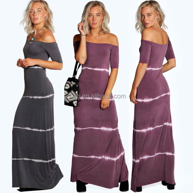 wholesale long maxi dress OFF THE SHOULDER TIEDYE middle sleeve maxi dress