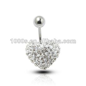 White Crystal Heart Belly Button Ring,Body Jewelry